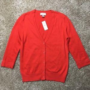 Ann Taylor LOFT Tomato Red Cardigan Sweater MP